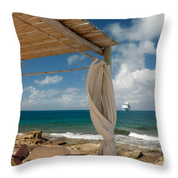 Beach Cabana  Throw Pillow by Amy Cicconi