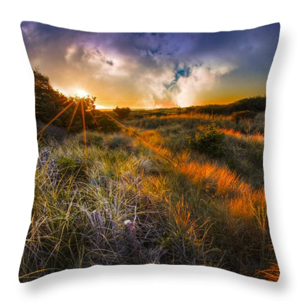 Beach Dunes Throw Pillow by Debra and Dave Vanderlaan