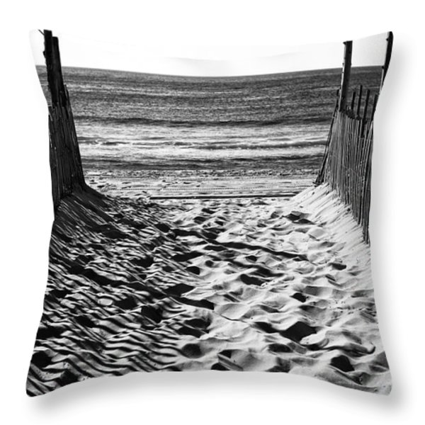 Beach Entry Black And White Throw Pillow by John Rizzuto
