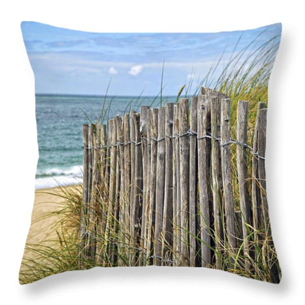 Beach fence Throw Pillow by Elena Elisseeva