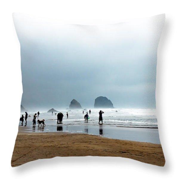 Beach Fun at Ecola  Throw Pillow by Robert Bales
