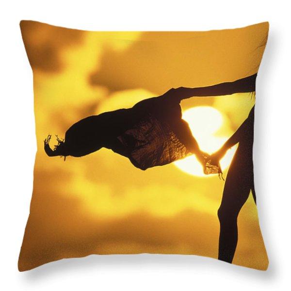 Beach Girl Throw Pillow by Sean Davey