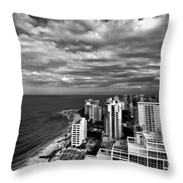 Beach Hotels San Juan Puerto Rico Throw Pillow by Amy Cicconi