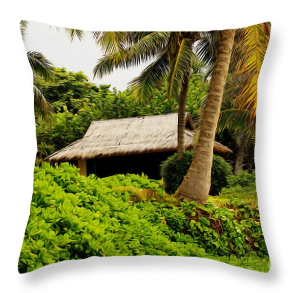 Beach Hut Painting Throw Pillow by Cheryl Young