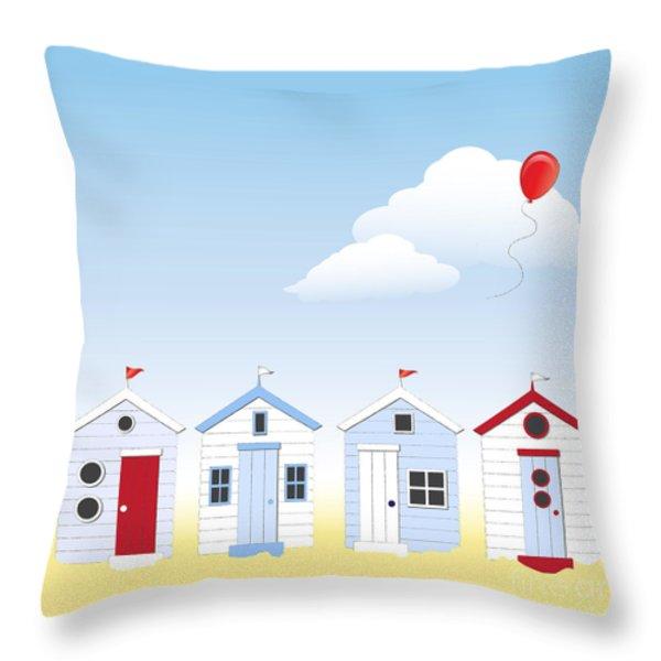 Beach huts Throw Pillow by Jane Rix