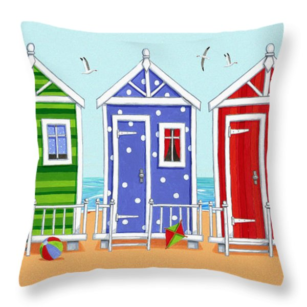 Beach Huts Throw Pillow by Peter Adderley