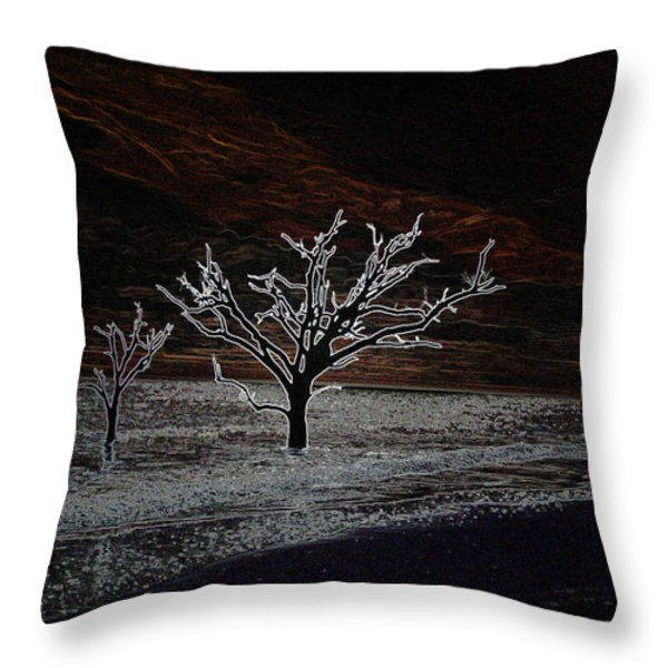 Beach Mystery at Night Throw Pillow by Ella Char