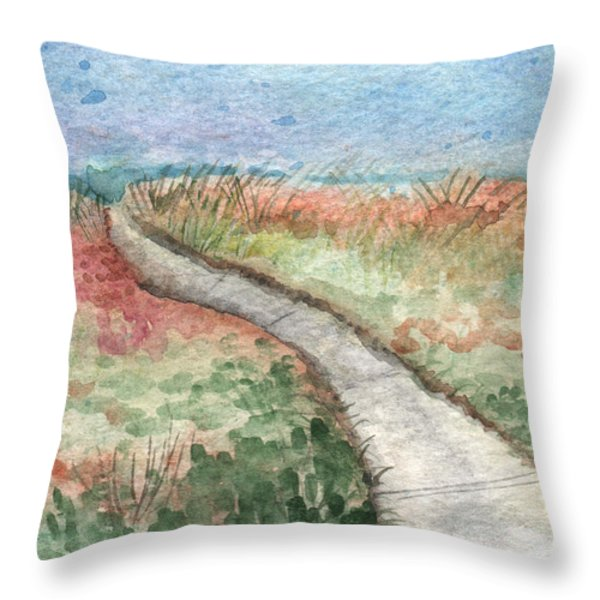 Beach Path Throw Pillow by Linda Woods