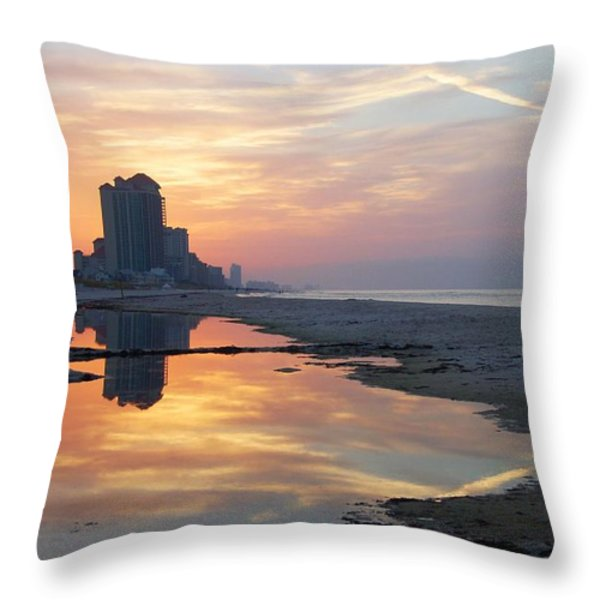 Beach Reflections Throw Pillow by Michael Thomas