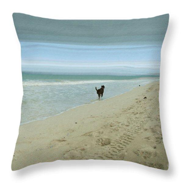 Beach Run Throw Pillow by Juli Scalzi