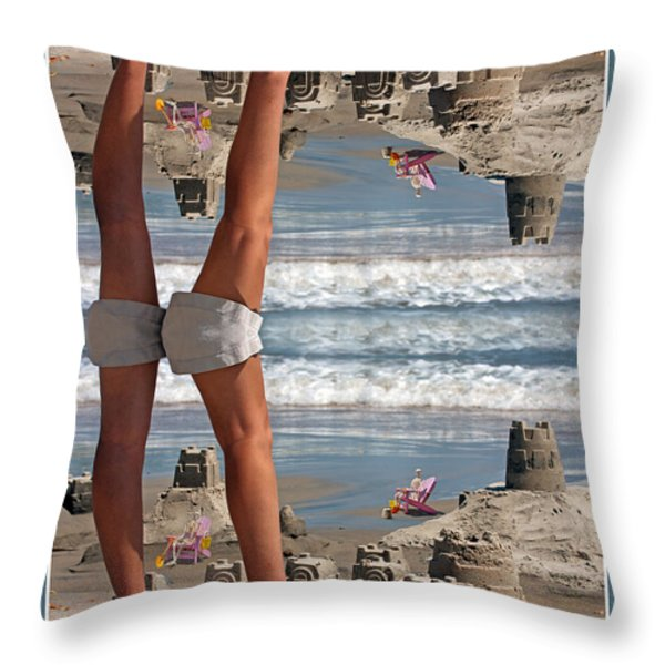 Beach Scene Throw Pillow by Betsy A  Cutler