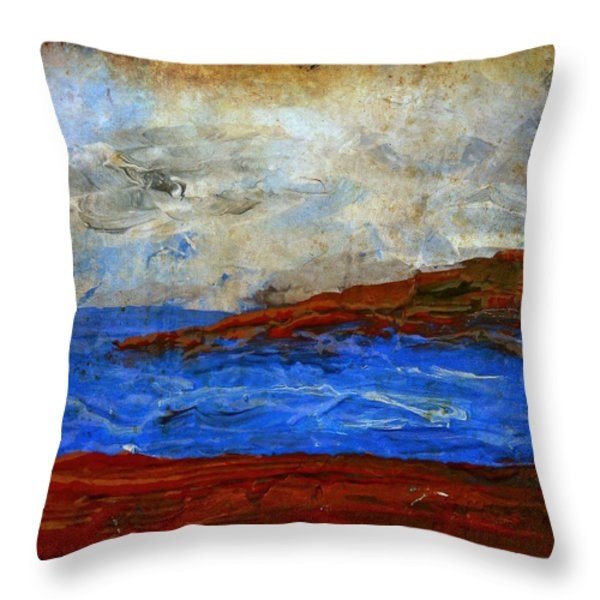 Beach Scene Painting Fine Art Print Throw Pillow by Laura  Carter