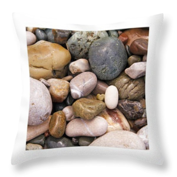 Beach Stones Triptych Throw Pillow by Stylianos Kleanthous