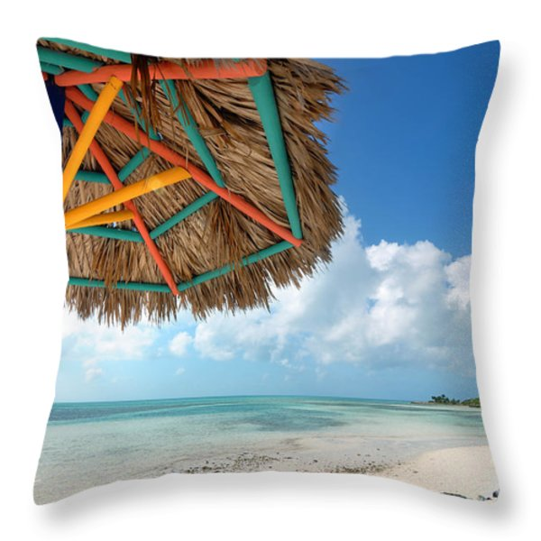 Beach Umbrella At Coco Cay Throw Pillow by Amy Cicconi