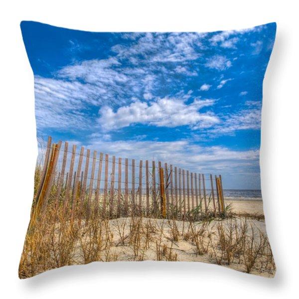 Beach Under Blue Skies Throw Pillow by Debra and Dave Vanderlaan
