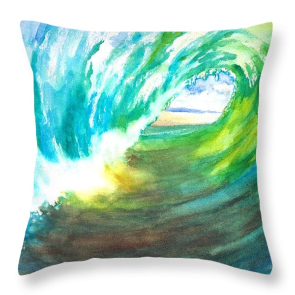 Beach View From Wave Barrel Throw Pillow by Carlin Blahnik
