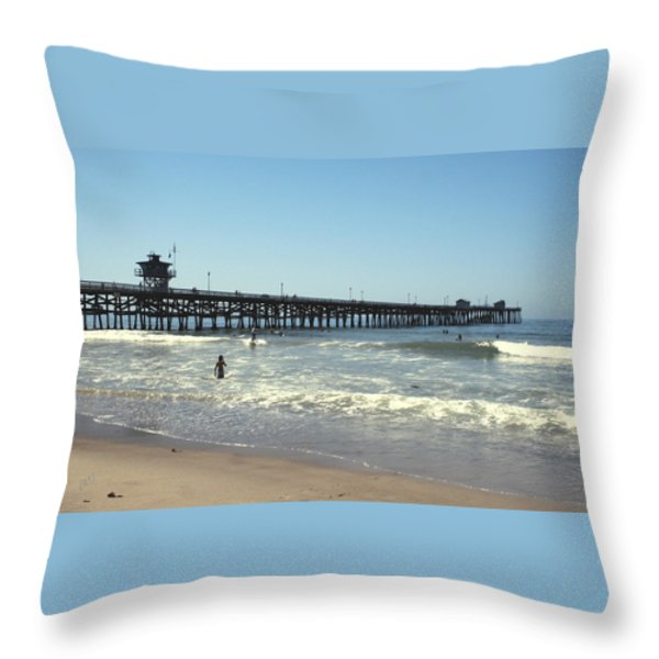 Beach View With Pier 2 Throw Pillow by Ben and Raisa Gertsberg