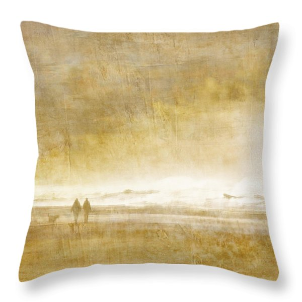 Beach Walk Square Throw Pillow by Carol Leigh