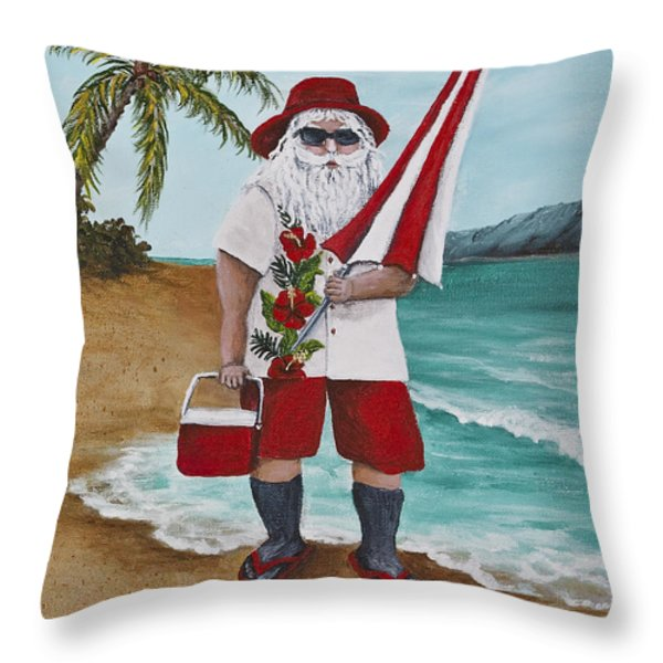 Beachen Santa Throw Pillow by Darice Machel McGuire
