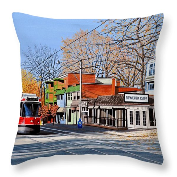 Beacher Cafe Throw Pillow by Kenneth M  Kirsch