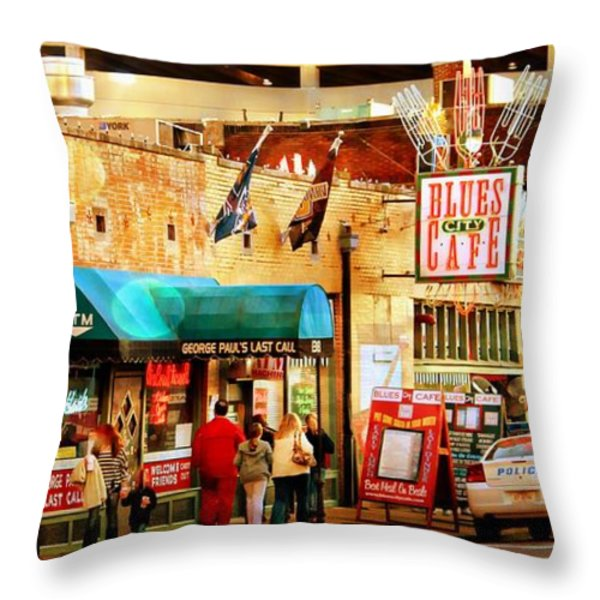Beale Street Throw Pillow by Barbara Chichester