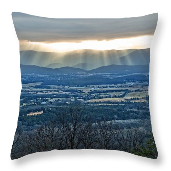 Beaming March Shenandoah Throw Pillow by Lara Ellis