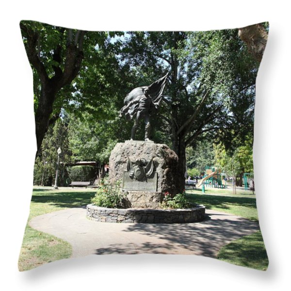 Bear Flag Statue At Sonoma Plaza In Downtown Sonoma California 5D24432 Throw Pillow by Wingsdomain Art and Photography