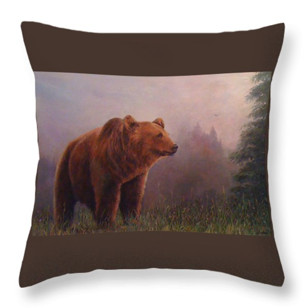 Bear In The Mist Throw Pillow by Donna Tucker