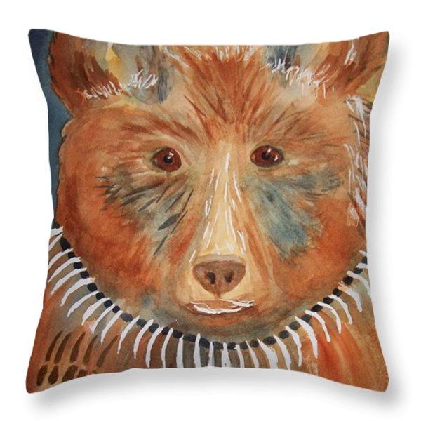 Bear Medicine Throw Pillow by Ellen Levinson