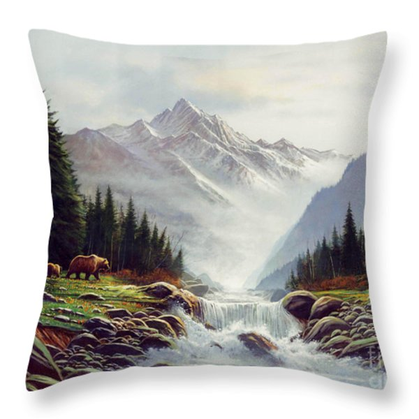 Bear Mountain Throw Pillow by Robert Foster