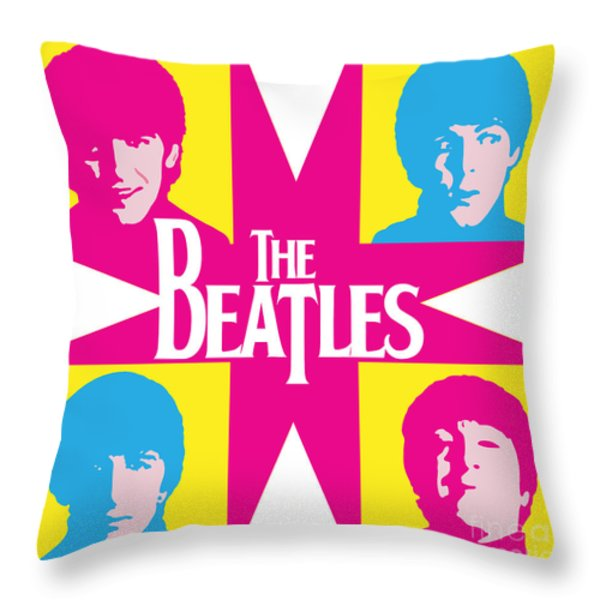Beatles Vinil Cover Colors Project No.01 Throw Pillow by Caio Caldas