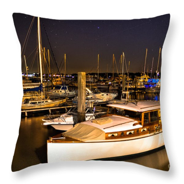 Beaufort SC Night Harbor Throw Pillow by Reid Callaway