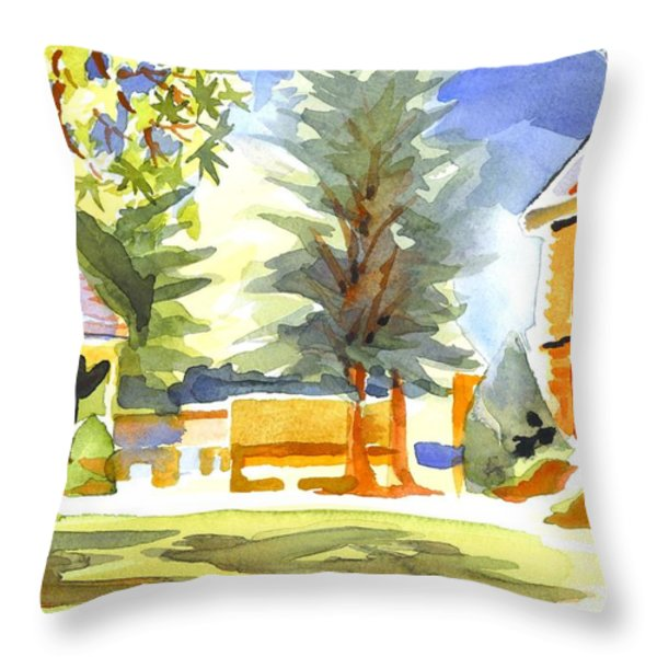 Beautiful Day On The Courthouse Square Throw Pillow by Kip DeVore