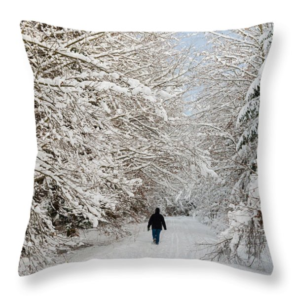 Beautiful forest in winter with snow covered trees Throw Pillow by Matthias Hauser