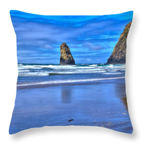 Beautiful Haystack Rock and the Needles Throw Pillow by David Patterson