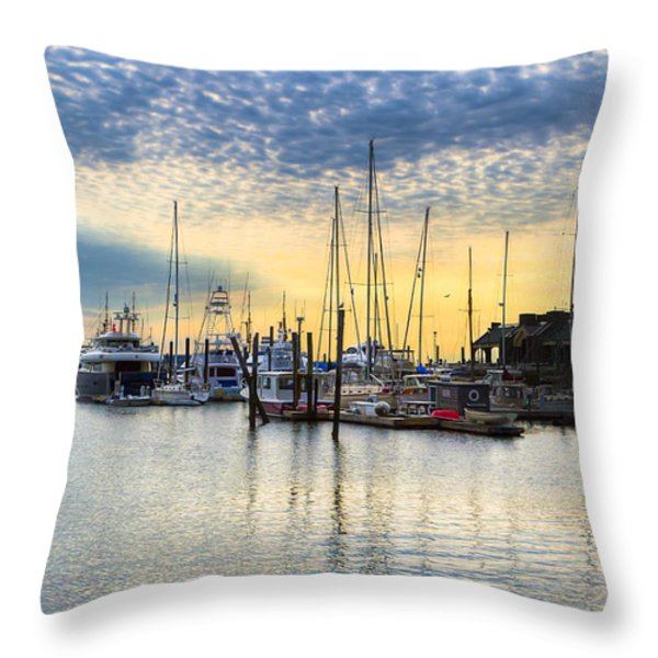 Beautiful Morning On Boston Waterfront Throw Pillow by Mark E Tisdale