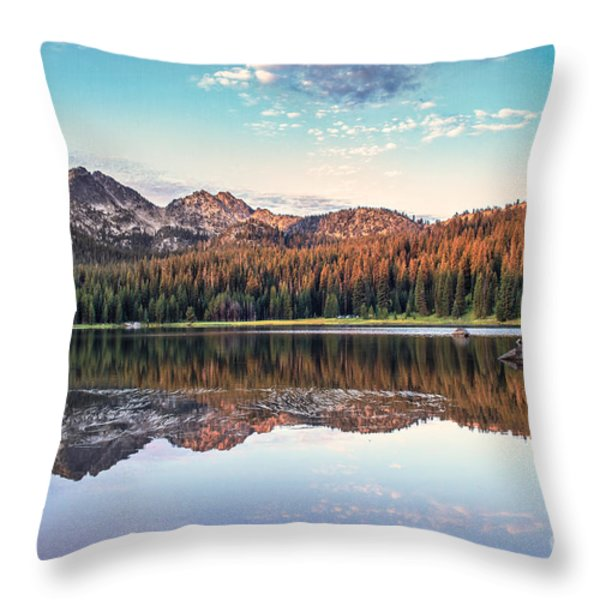 Beautiful Mountain Reflection Throw Pillow by Robert Bales