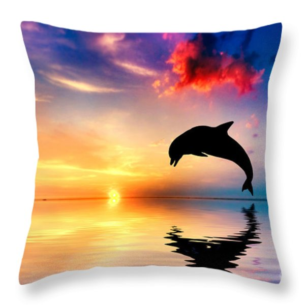 Beautiful Ocean And Sunset With Dolphin Jumping Throw Pillow by Michal Bednarek