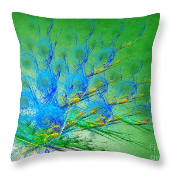 Beautiful Peacock Abstract 1 Throw Pillow by Andee Design