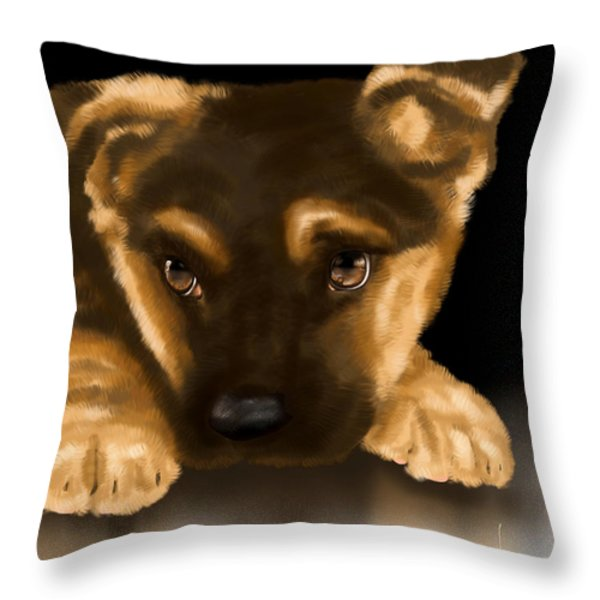 Beautiful puppy Throw Pillow by Veronica Minozzi