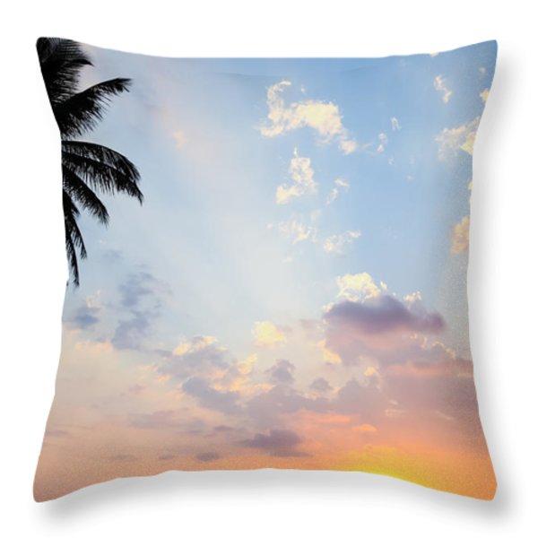 Beautiful Tropical Sunset Throw Pillow by Nila Newsom