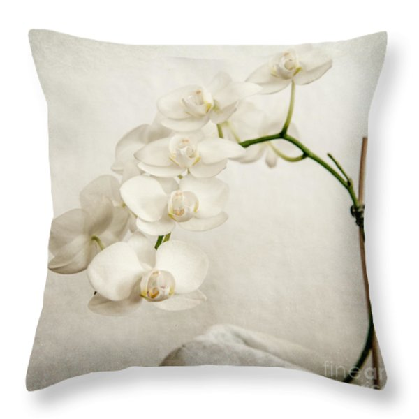 Beautiful White Orchid II Throw Pillow by Hannes Cmarits