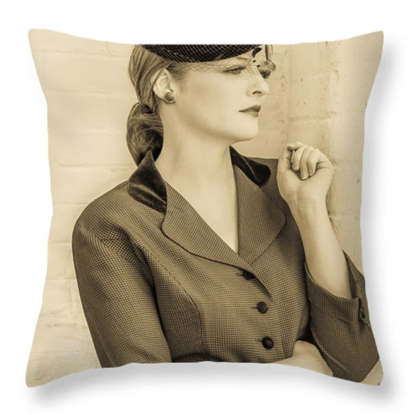 Beautiful woman in vintage forties clothing Throw Pillow by Diane Diederich