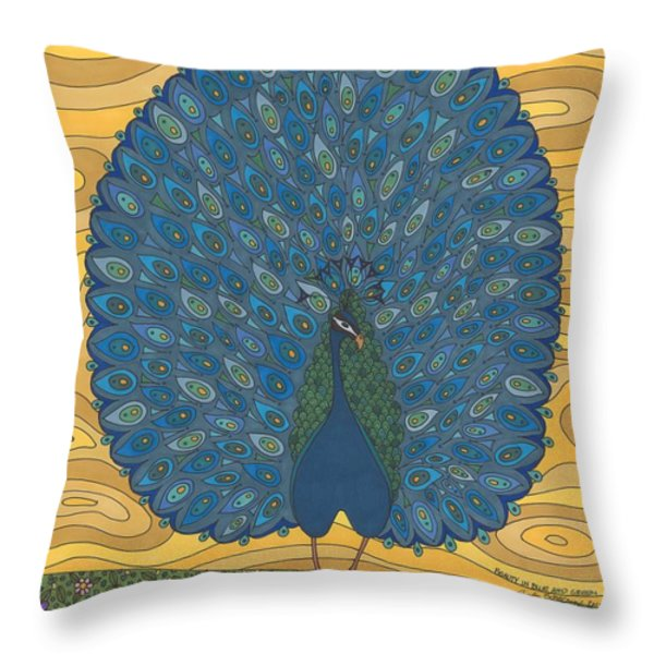 Beauty In Blue And Green Throw Pillow by Pamela Schiermeyer