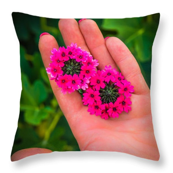 Beauty In Her Hands Throw Pillow by Sotiris Filippou