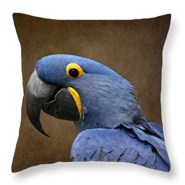 Beauty Is An Enchanted Soul - Hyacinth Macaw - Anodorhynchus Hyacinthinus Throw Pillow by Sharon Mau