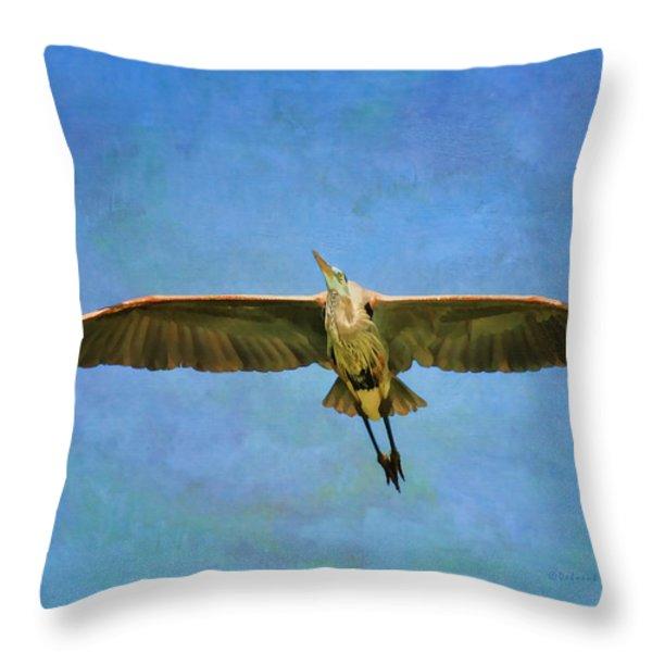 Beauty Of Flight Textured Throw Pillow by Deborah Benoit