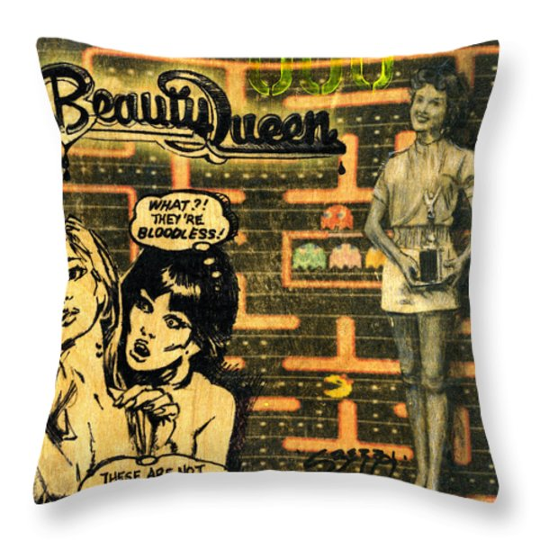 Beauty Queen Throw Pillow by Jenny Berry