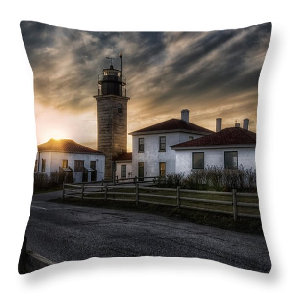Beavertail Lighthouse Sunset Throw Pillow by Joan Carroll
