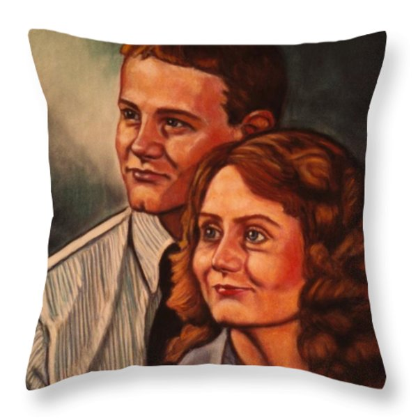 Becky And Ron Yearout Throw Pillow by Kendall Kessler